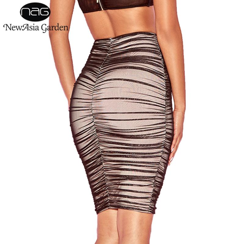 Black Ruched Mesh Skirt Semi-Sheer Linning Pencil Skirt High Waisted Midimodkily-modkily
