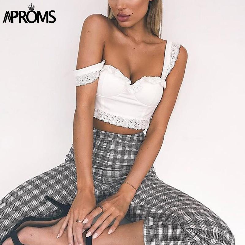 Aproms White Lace Ruffle Tank Tops Women Casual Sleeveless Low Back Cropmodkily-modkily