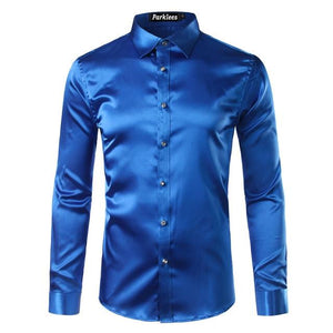 High Quality Silk Satin Shirt Men Chemise Homme 2017 Casual Long Sleevemodkily-modkily