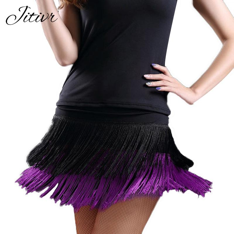 Good Quality 2017 Women's Latin Dance Skirt Double Layer Tassel Shortmodkily-modkily