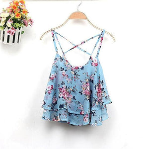 2018 Spring Women Shirts Tanks Top Summer Clothing Strap Floral Print Chiffonmodkily-modkily