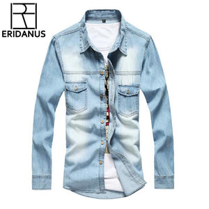 2017 New Jeans Shirt Long Sleeve Solid Casual Slim Fit Washed Denimmodkily-modkily