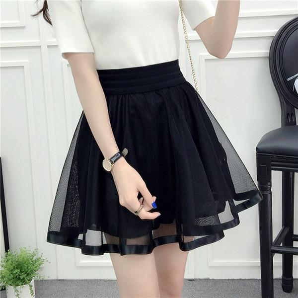 Women Embroidery Beading Skirt Sexy Saia Short Skater Mini Skirts Ladies Blackmodkily-modkily