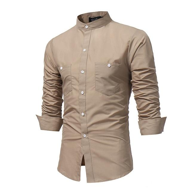 Brand 2018 Fashion Male Shirt Long-Sleeves Tops Stand Collar Young Solid Colormodkily-modkily