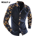 2018 Men'S Fashion Men Shirt Fancy Stitching Tide Slim Square Collarmodkily-modkily