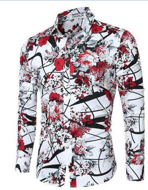 2018 Brand New Men Shirts Casual Flora Long Sleeve Business Formalmodkily-modkily