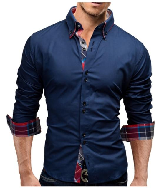 Brand 2018 Fashion Male Shirt Long-Sleeves Tops Double collar business shirt Mensmodkily-modkily