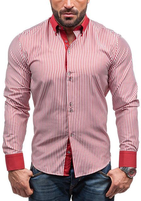 Brand 2018 Hot Sale Fashion Male Shirt Long-Sleeves Tops Simple Stripes Mensmodkily-modkily