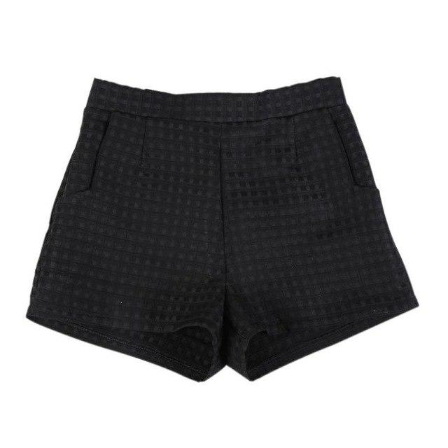 2017 Fashion Europe & Joker Dark Plaid Shorts High Waist Short Koreanmodkily-modkily
