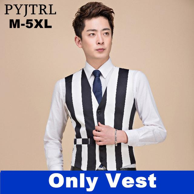 Fashion Casual Plus Size 5XL Black White Stripe Suit Vest Nightclubmodkily-modkily