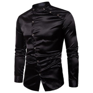 2018 Long Sleeve Spring Fashion Slim Fit Casual Silk Men Dress Shirtmodkily-modkily