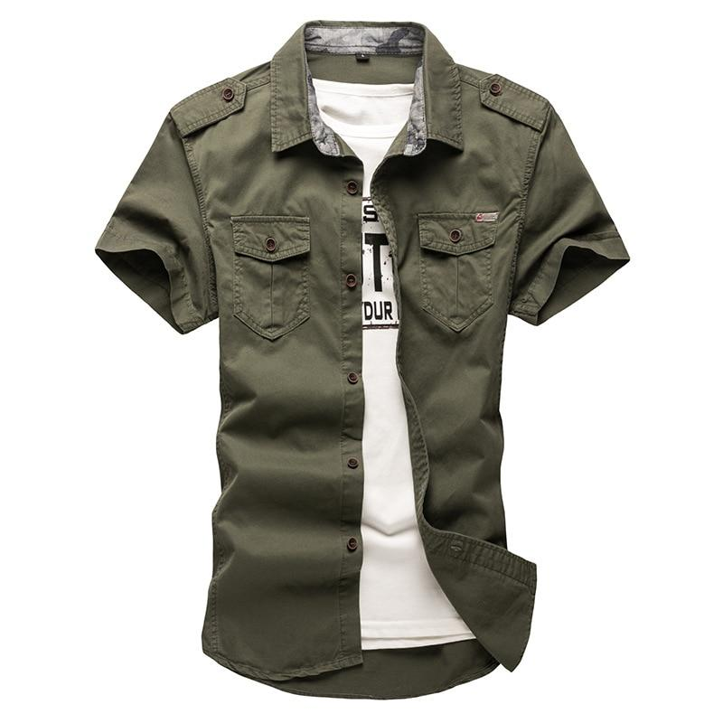2018 New Men's Cargo Tactical Shirts 100% Cotton Short Sleeve Work Brandmodkily-modkily