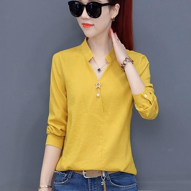 2018 Women Chiffon Blouse Autumn Ladies Work Wear Office Shirts V-neck Longmodkily-modkily