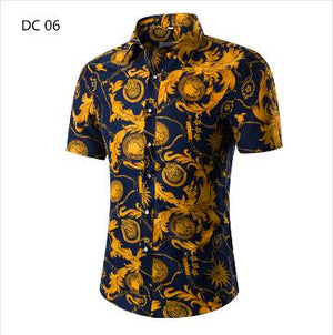 2018 Fashion Mens Short Sleeve Hawaiian Shirt Summer Casual Floral Shirts Formodkily-modkily