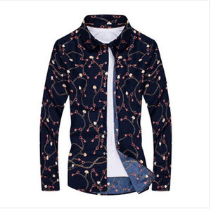 2018 New Floral Print Long Sleeve Mens Casual Shirts Slim Fashion Menmodkily-modkily