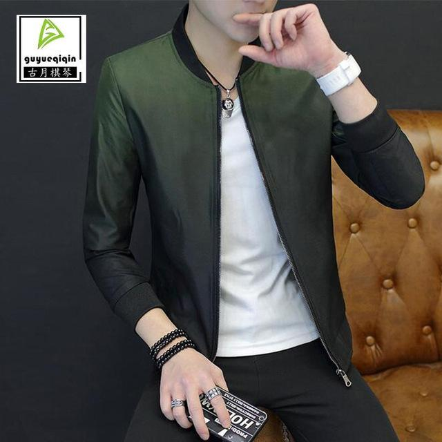 2017 Spring Autumn Gradient Jacket Men's Clothing Korean Thin Slim Zipper Standmodkily-modkily