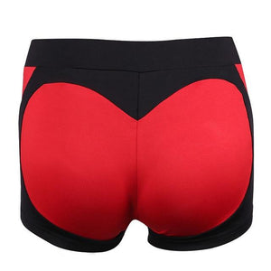 Sexy Push Up Women High Waist Shorts Red Black Patchwork Shortmodkily-modkily