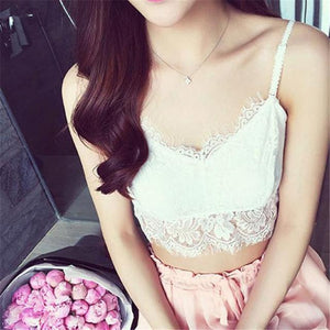 Women Lace Tank Top Translucent Underwear Sheer Halter Top Condole Belt Strapmodkily-modkily