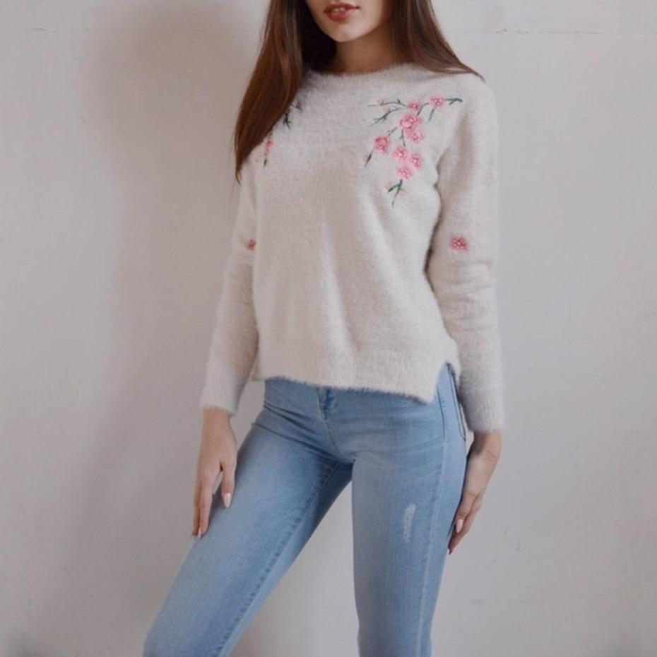 Women's Sweater Round Neck Long Sleeve Embroidery Floral Pullover 2018 Topmodkily-modkily