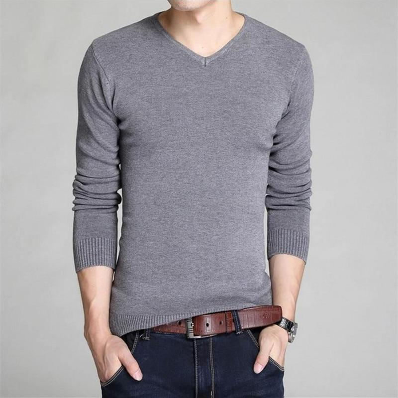 2018 new winter men's sweater men's V-neck sweater bottoming Slim solid colormodkily-modkily