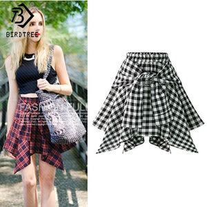 Pleated Female A-Line Schoolgirl Skirts Women Red&Black 2018 Plaid Skirts High Waistmodkily-modkily