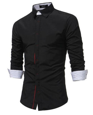 2018 New Men Shirt Spring Long Sleeve Turn-Down Brand Solid Dress Shirtsmodkily-modkily