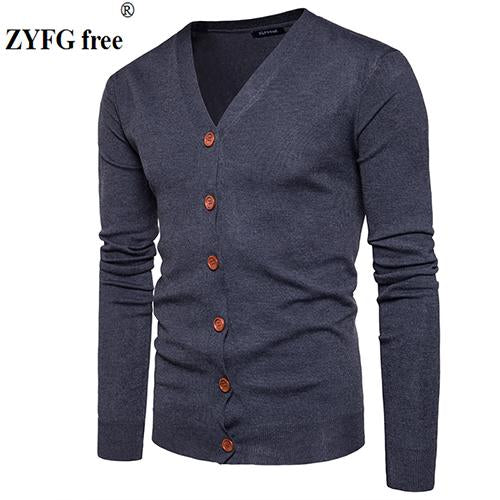 Men Button cardigans Sweaters 2017 New Casual Men solid Pullover V Collarmodkily-modkily