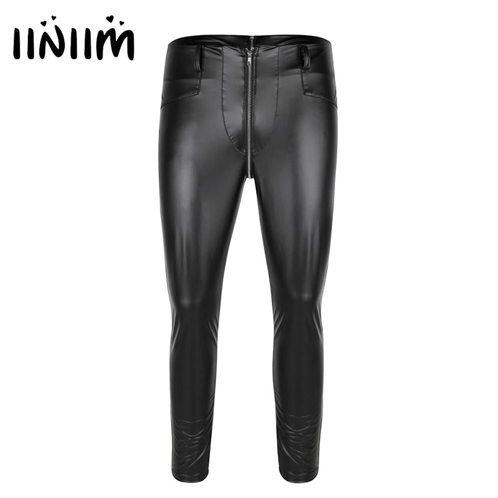 Black Mens Faux Leather Zipper Crotch Tight Pants Legging Trousers Clubwearmodkily-modkily