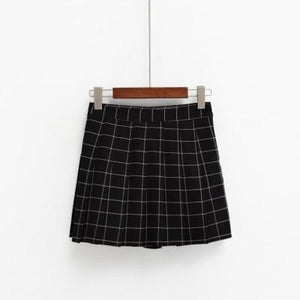 2018 Women's Kawaii AA High Waist Plaid Pleated Skirt Female British Preppymodkily-modkily