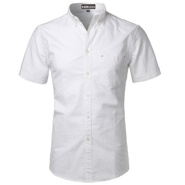 Oxford Shirt Men 2017 Brand New 100% Cotton Short Sleeve Mens Dressmodkily-modkily