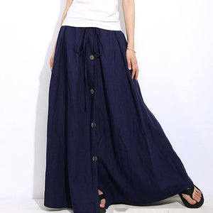 2018 Elegant Women High Elastic Waist Lace-up Solid Loose Long Skirt Casualmodkily-modkily