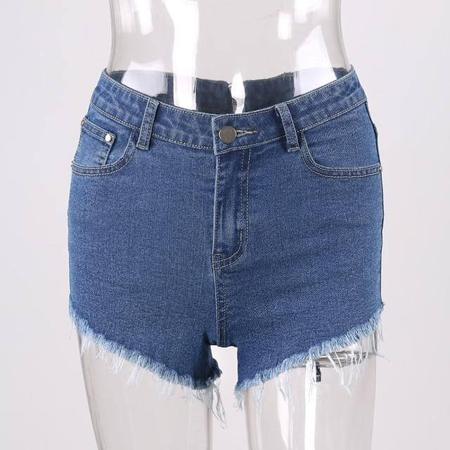 CWLSP Summer Sexy Women Shorts Tassel Jeans Back Zipper High Waist Shortmodkily-modkily