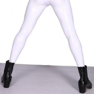 Sexy High Elastic Blue PVC Shiny Pencil Pants Tight Faux Leather Fashionmodkily-modkily