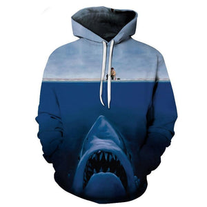 2018 Men's Shark 3d Print Hoodies Hooded Sweatshirts Funny Angler & Sharkmodkily-modkily
