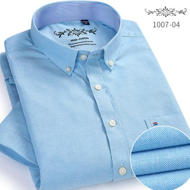 Men's Shirts with short sleeves Slim fit Solid Oxford Business Shirt Menmodkily-modkily