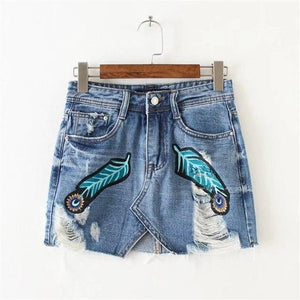 2017 Summer Womens Shorts Feathers Print Pattern Denim jeans Hole Bodyconmodkily-modkily