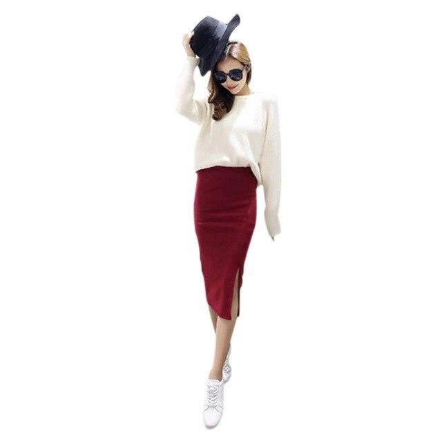2017 spring Autumn And Winter package hip skirt slit skirts women stepmodkily-modkily