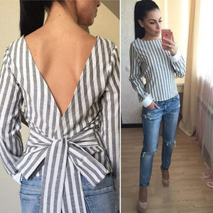 Backless 2018 Plus Size Sexy Striped Open Back Deep V Tops Longmodkily-modkily