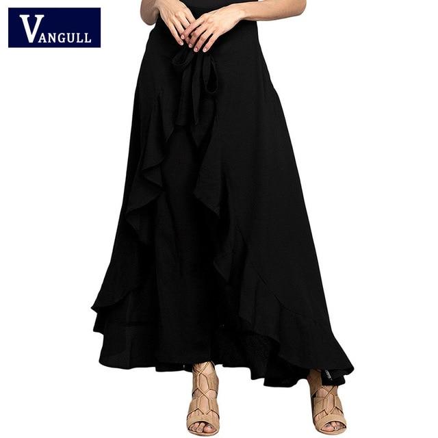VANGULL women wrap skirts ankle-length casual sashes ruffle hem wide leg loosemodkily-modkily