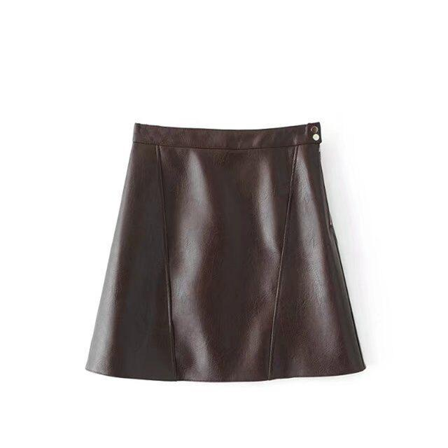 2018 spring high waist Skrit PU faux leather women skirt pinkmodkily-modkily