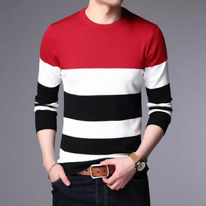 Sweater Male Pullover Men Brand Casual Sweaters Striped Mens Cashmere Sweatermodkily-modkily