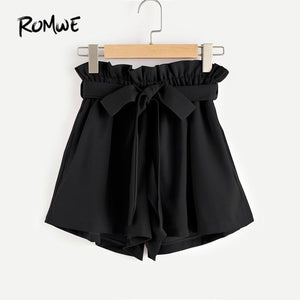 Frill Waist Self Tie Shorts Womens Black High Waist Womens Summermodkily-modkily
