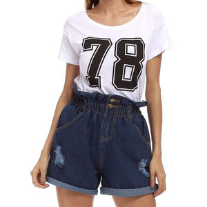 Plus Size Casual Blue Hemming Denim Shorts Women Button Summer Beach 2018modkily-modkily
