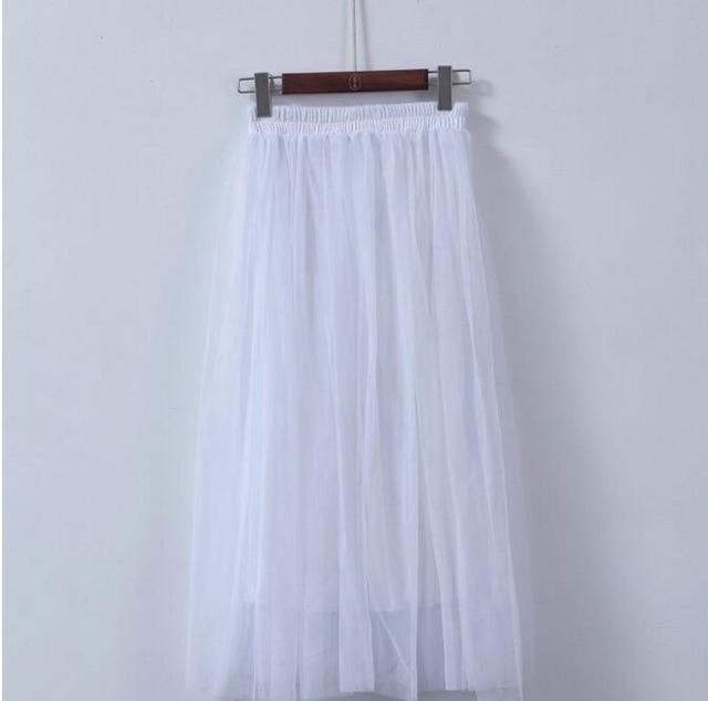 Gauze Voile Tulle Skirts Womens 2018 Summer Elastic High Waist A-linemodkily-modkily