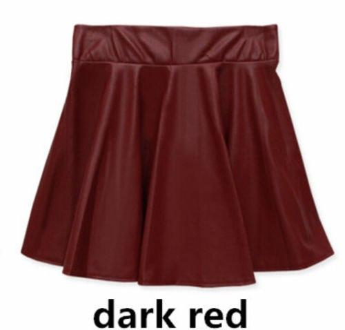 2018 New Women Faux Leather Vintage Skirts Elastic High Waist Skater Flaredmodkily-modkily