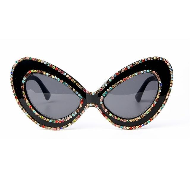 2018 sunglasses women brand designer Butterfly Big Frame Rhinestone sunglasses Oversized glassesmodkily-modkily