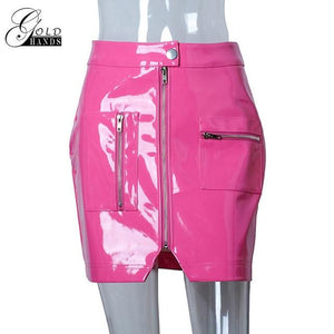 Women Faux Leather Pencil Skirts Pink Button Front Zipper Winter Fashionmodkily-modkily