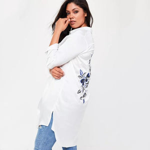 Lazykoko Fashion plus solid white flower embroidery shirt Long Sleeve Female Clothingmodkily-modkily