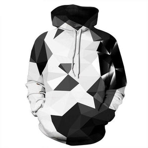 Black White 3D Hoodies Men Diamond Print Sweatshirts Unisex 2018 Spring Autumnmodkily-modkily