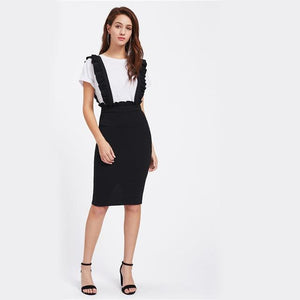 Black Frill Detail Pinafore Skirt For Ladies 2017 New Knee Lengthmodkily-modkily